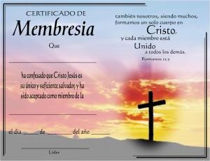 Certificado de membresia de la iglesia